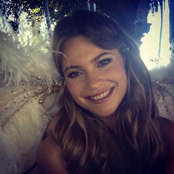 Behati Prinsloo looked glam on the set of a Victoria's Secret shoot. Source: Instagram user behatiiprinsloo