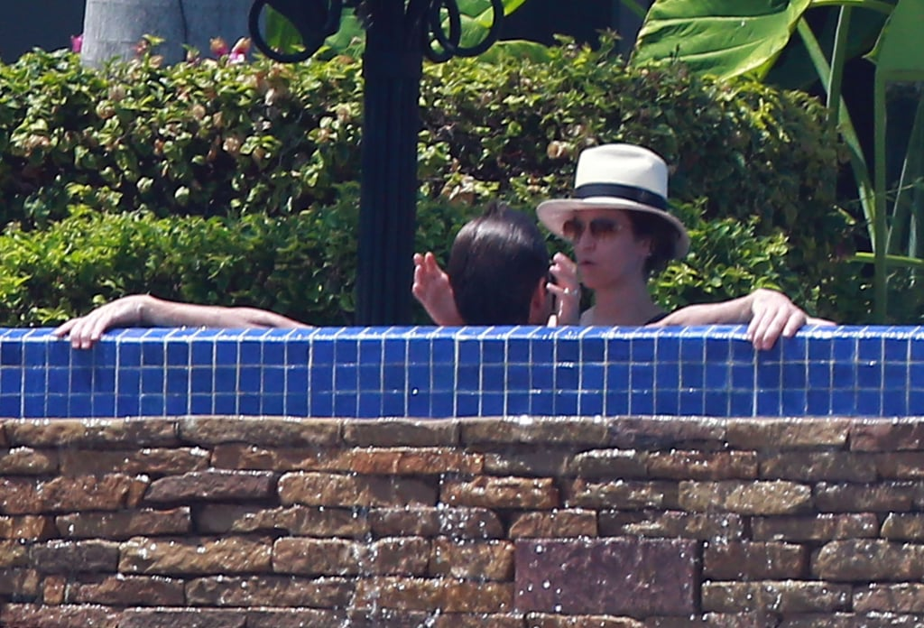 Jason Bateman and his wife got cozy in the jacuzzi in Mexico.