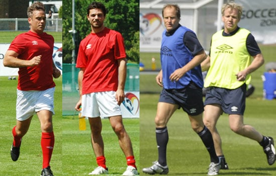 Pictures of Soccer Aid 2010 Teams Robbie Williams, Gordon Ramsay, Dominic Cooper, Woody Harrelson