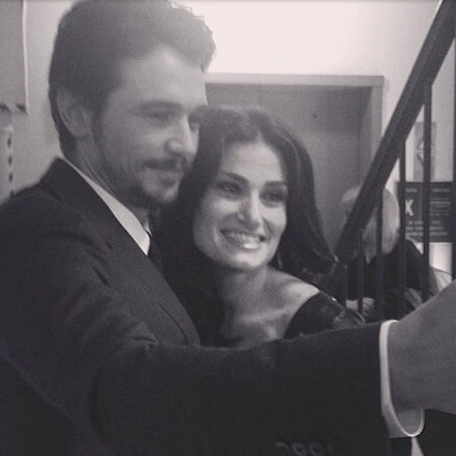 "James Franco snapped a pic with Idina Menzel, and he called her ""Broadway's queen: Adel Dazeem."" Source: Instagram user jamesfrancotv"
