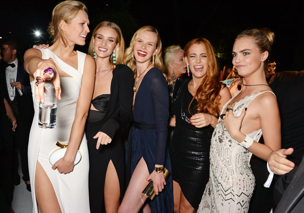 Toni Garrn, Rosie Huntington-Whiteley, Anne V, Riley Keough, and Cara Delevingne took an epic group photo.
