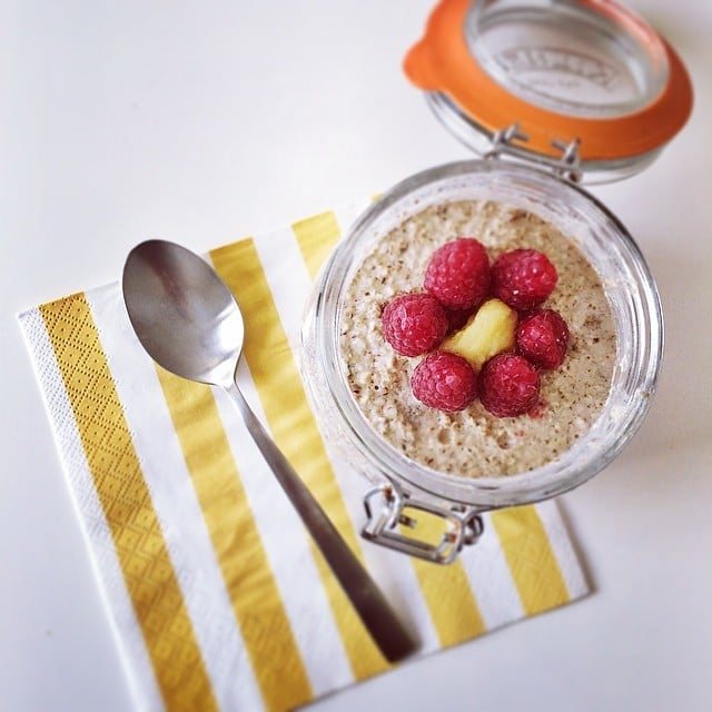 Overnight oats in a jar — oh my! Aside from the oats, this jar is filled with the goodness of chia, banana, raspberries, and pumpkin seeds.
