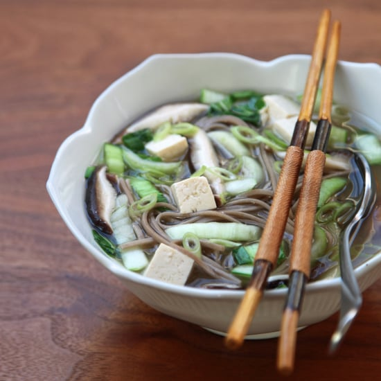 Vegan Miso Soup With Soba Noodles and Mushrooms