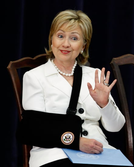 Oh Snap! Hillary Clinton's Back on the Scene in a Sling