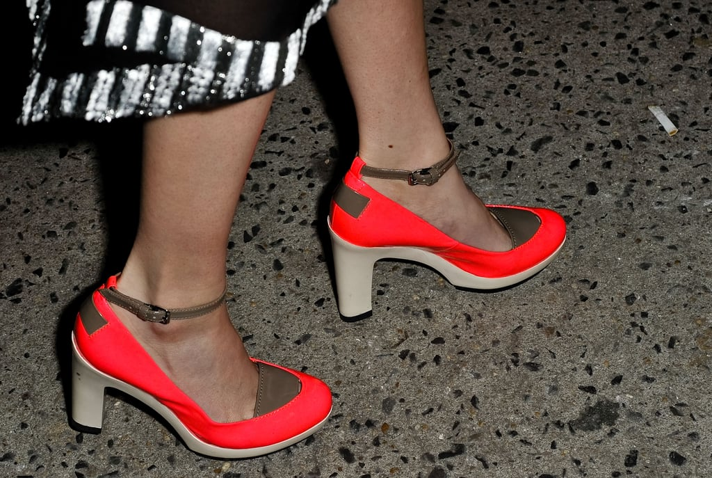 A pop of neon on these ankle-straps made them a street-style standout.