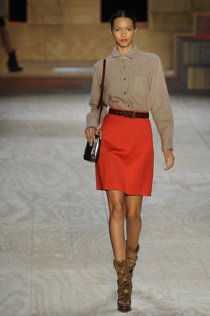 Bold coral and a khaki contrast from Cori injects a little more fun into work-wear.