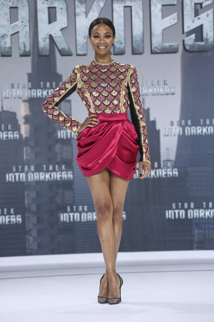 At the Berlin premiere of Star Trek Into Darkness, Zoe Saldana went with a very sexy leg-baring number, courtesy of Balmain.