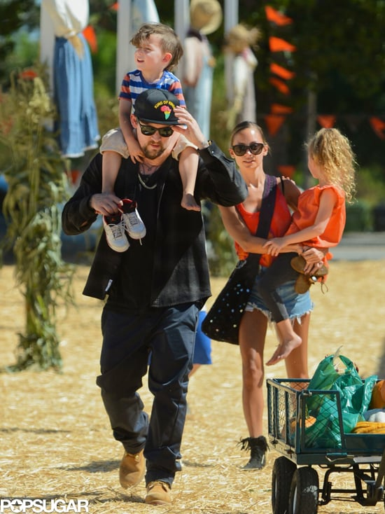 Nicole Richie and Joel Madden took their tots, Sparrow and Harlow, to a pumpkin patch in Sherman Oaks, CA to prepare for Halloween.
