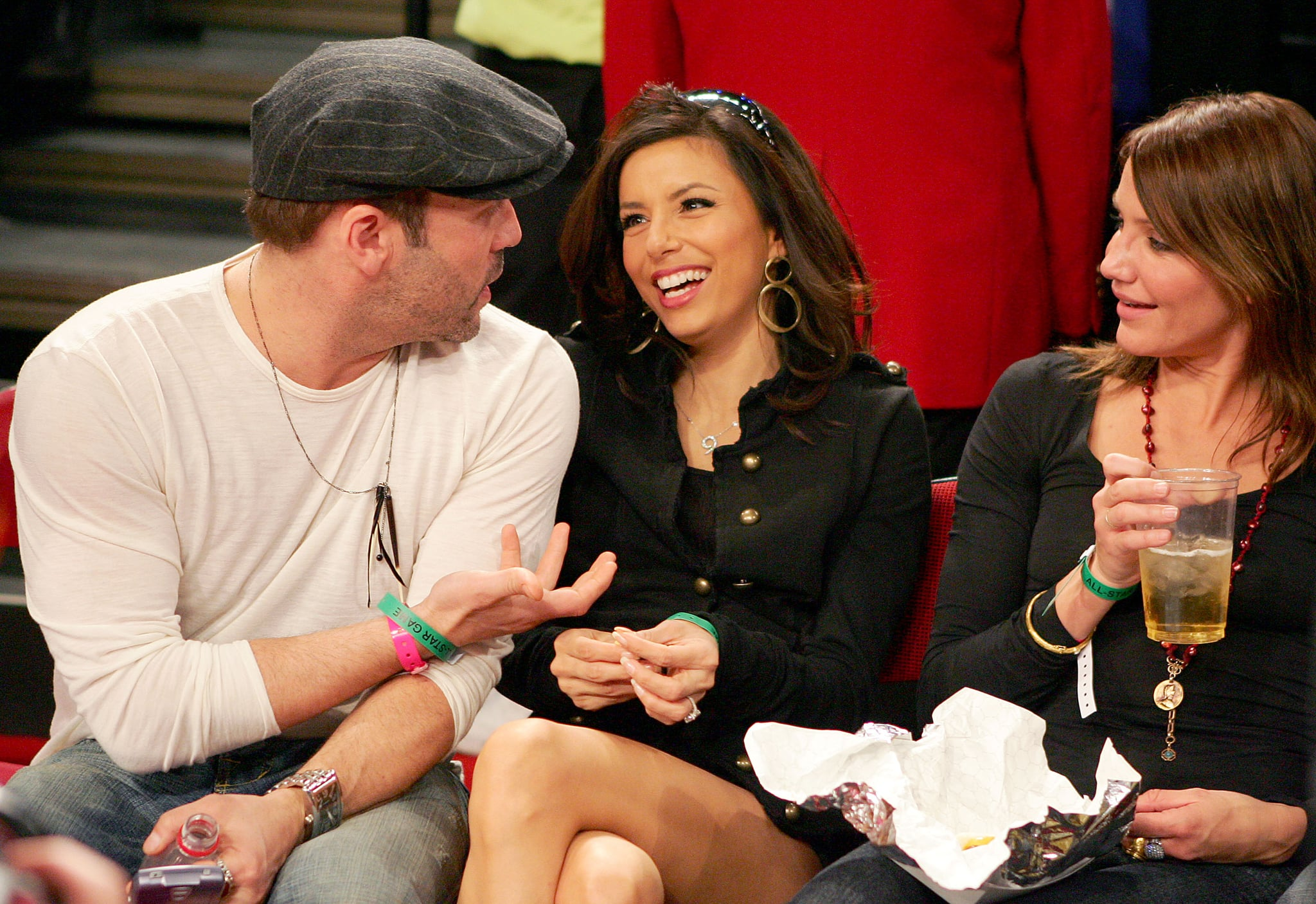 Jeremy Piven schmoozed with Eva Longoria and Cameron Diaz at the NBA All-Star Game in February 2007.