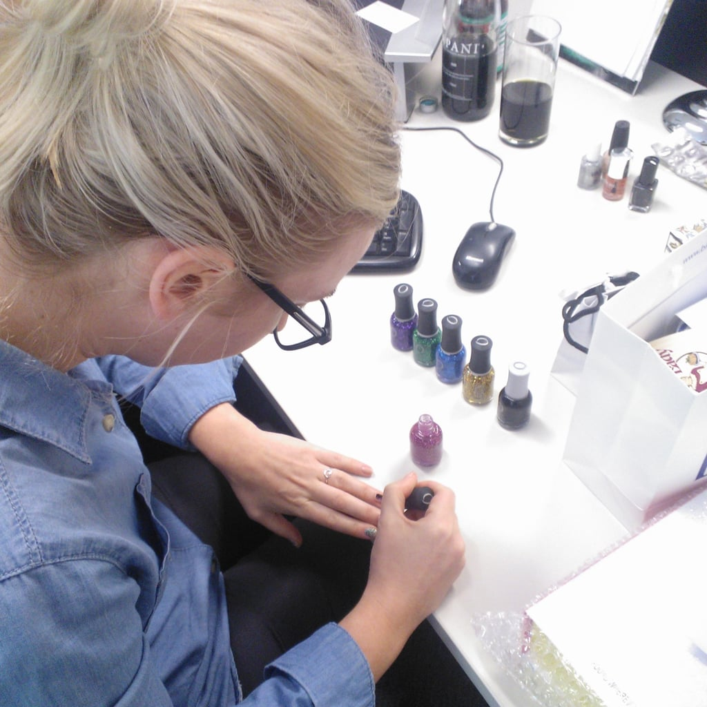 Whenever BellaSugar editor Alison gets a nail polish delivery, I can always be found hovering around her desk as she tests them out . . . This is the Orly Flash Glam collection, available from Dec. 1. Glitteriffic!