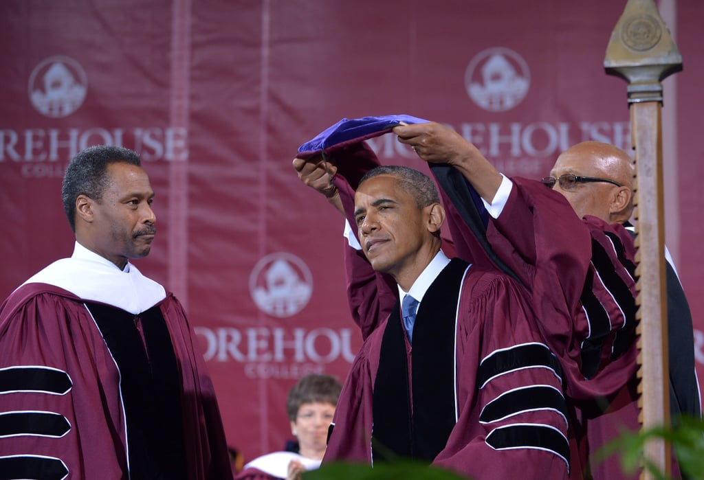 The president received an honorary degree from Morehouse College in Atlanta.