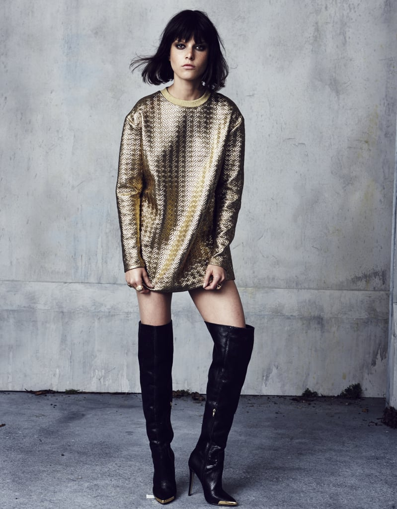 A gold, oversize sweatshirt from the collaboration. Photo courtesy of River Island