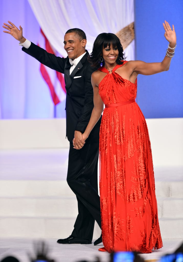 Wearing a Jason Wu dress, Jimmy Choo shoes, and a ring by Kimberly McDonald for the inaugural ball in 2013.