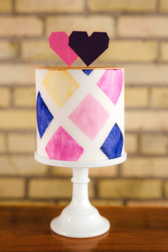 The bold pattern of this fun cake is made even sweeter topped with pixel-like hearts.