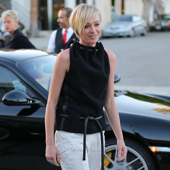 Portia de Rossi Wearing Black Leather Rope Top