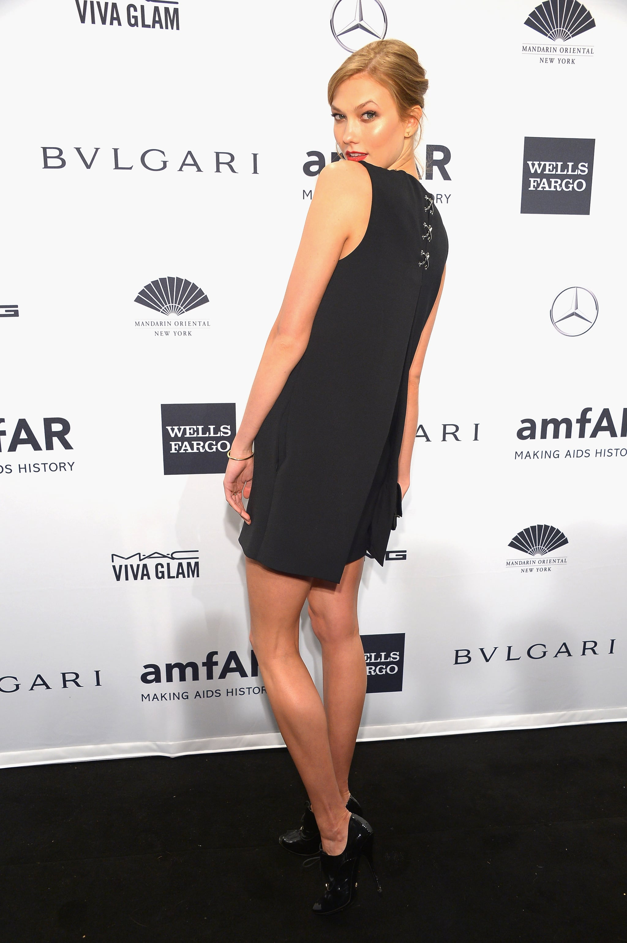Karlie Kloss, wearing Alexander Wang, at amfAR's New York Gala.