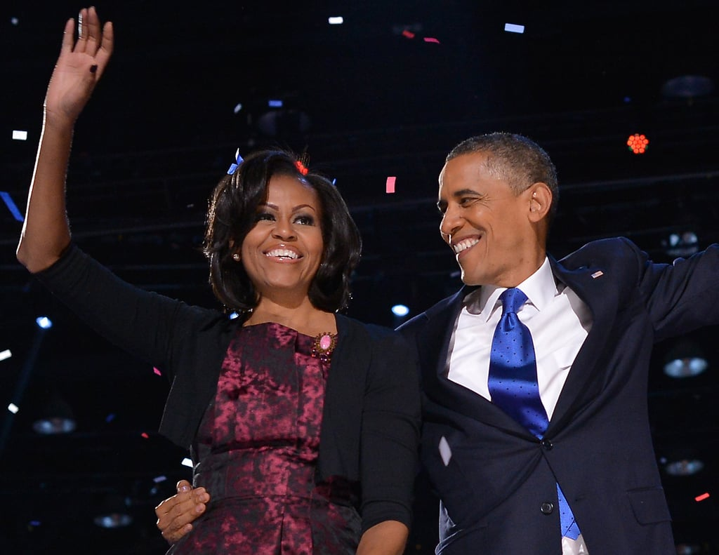 The president looked lovingly at Michelle as the confetti dropped.