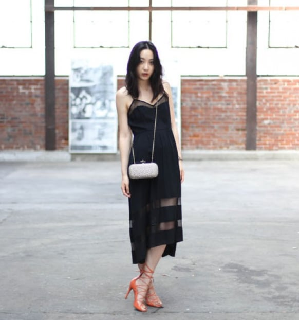 Sheer insets offer added interest on this staple LBD.  Mikkat Market Asymmetric Lace Contrast Dress ($42)