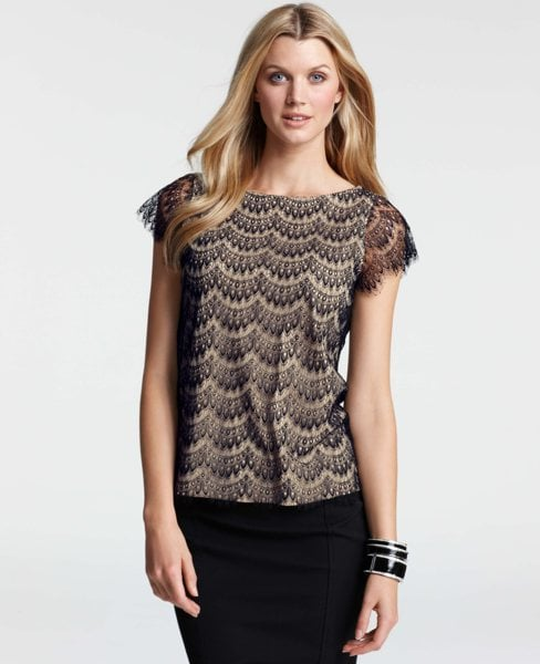 This lace tee is equal parts edgy and elegant. Ann Taylor Lace Short Sleeve Tee ($78)