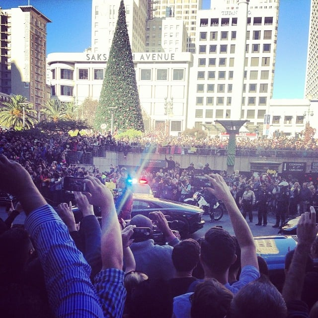 Huge crowds took over San Francisco's Union Square to support Batkid. Source: Instagram user lynaecook