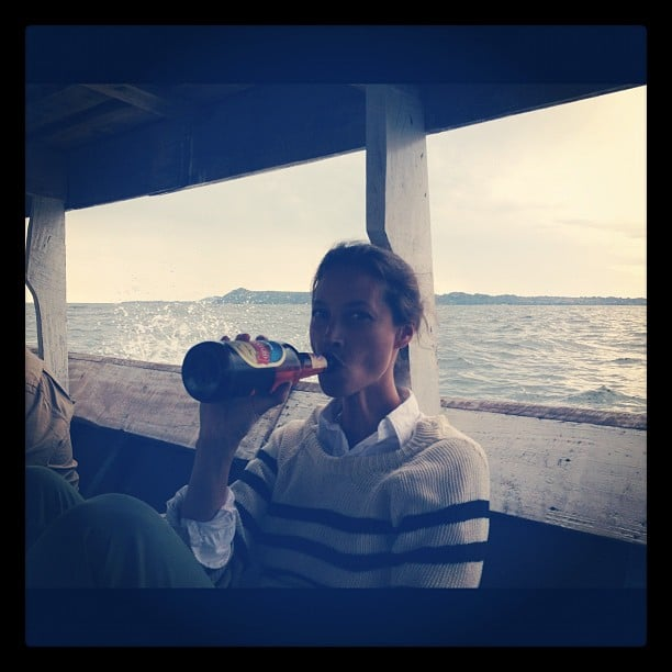 Christy Turlington enjoyed a beer. Source: Instagram user cturlington