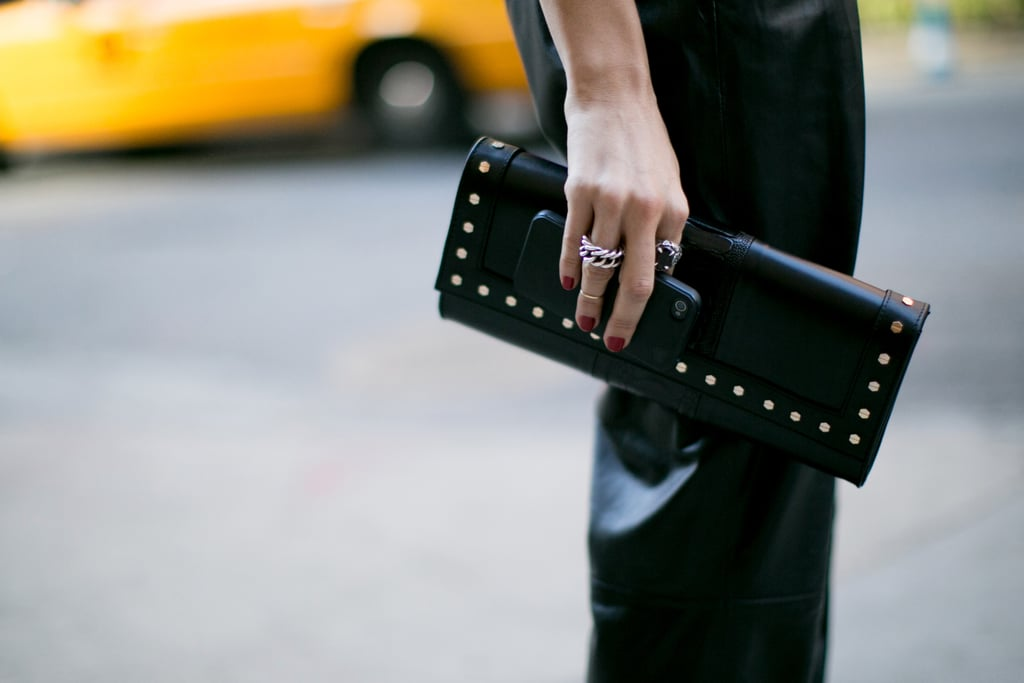 We spied another Valentino clutch on the street.