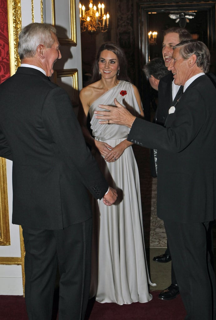 Kate Middleton in one-shoulder gown.