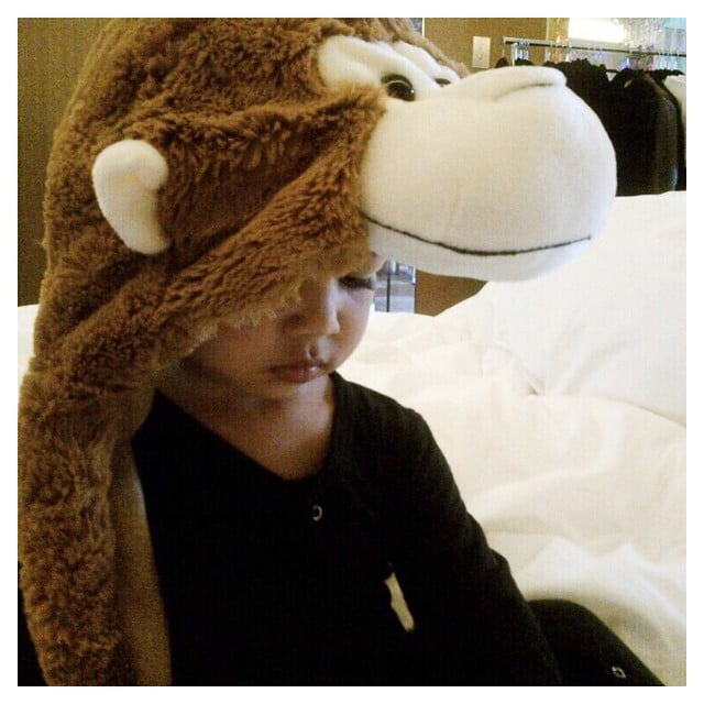 North played around in a monkey outfit one morning.