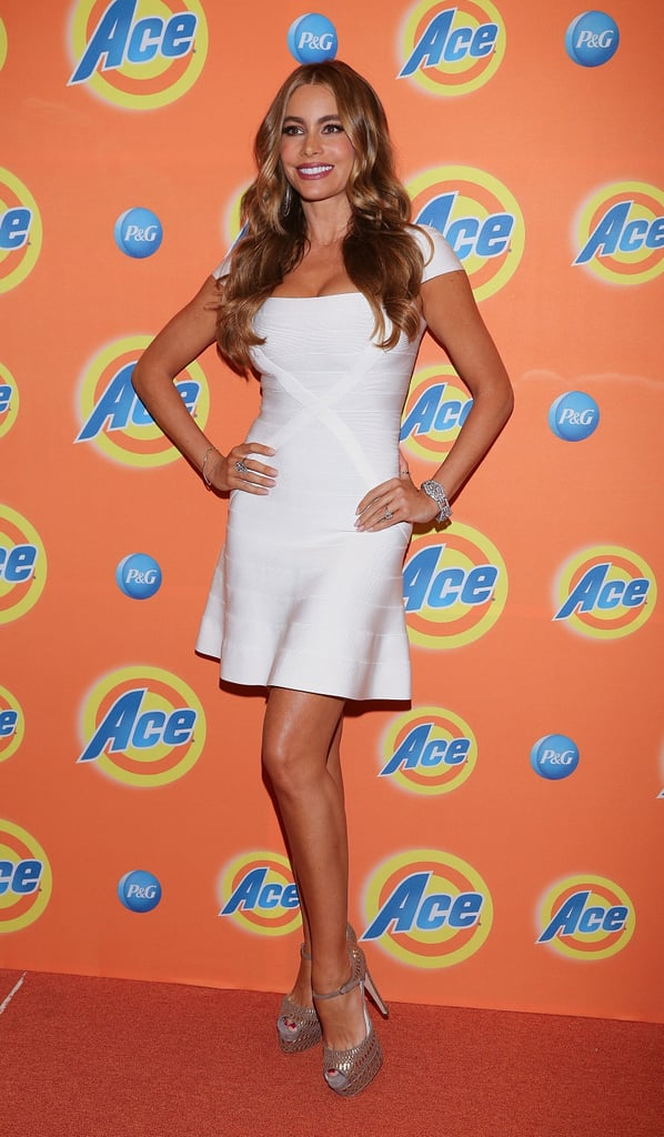 Sofia Vergara glowed in a stark white Hervé Léger fit-and-flare and metallic Brian Atwood ankle-strap pumps for an Ace Campaign party in Mexico City.