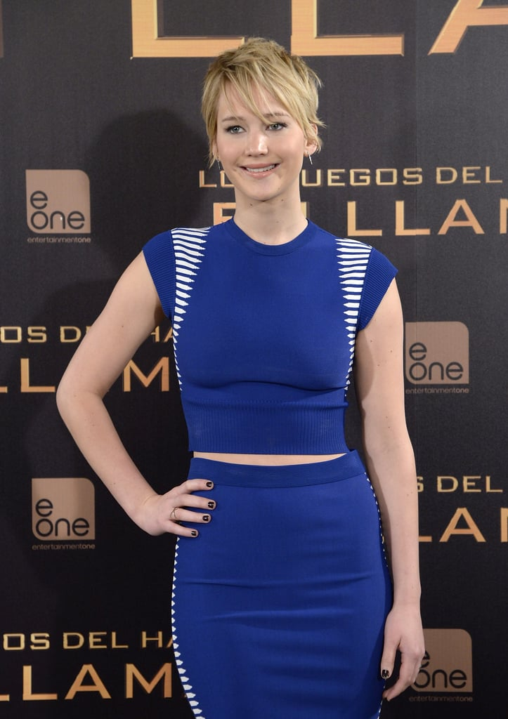 Jennifer Lawrence attended a photocall in Madrid.