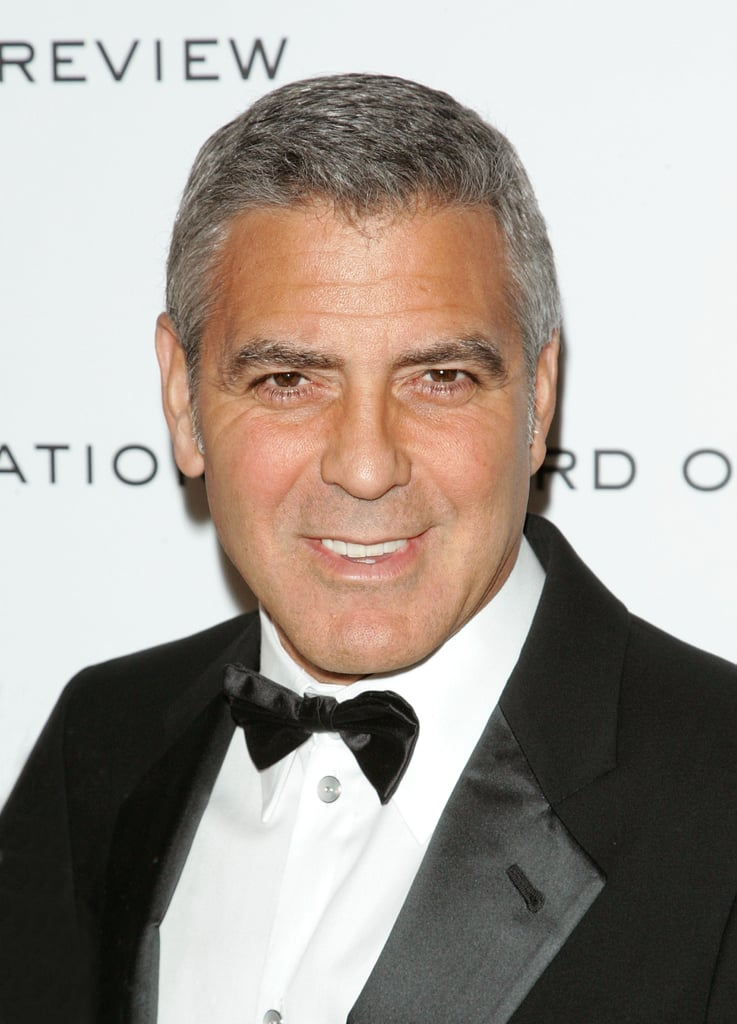 George Clooney topped off his suit with a black bow tie.
