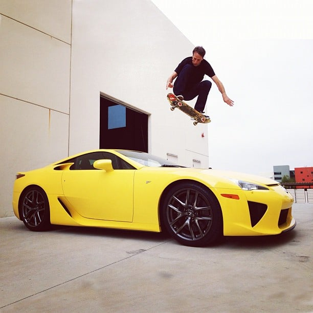 Tony Hawk did an ollie over a sports car.  Source: Instagram user tonyhawk