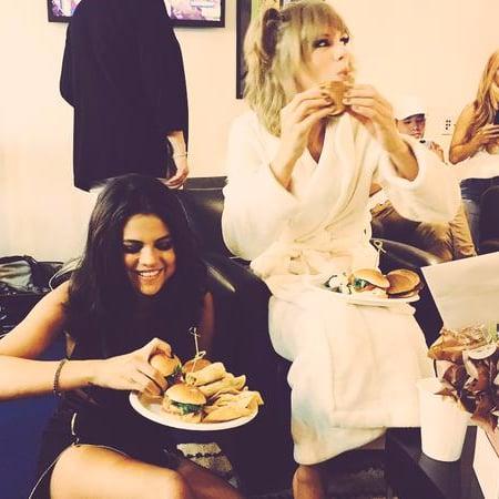 Taylor Swift and Selena Gomez at 2015 MTV VMAs