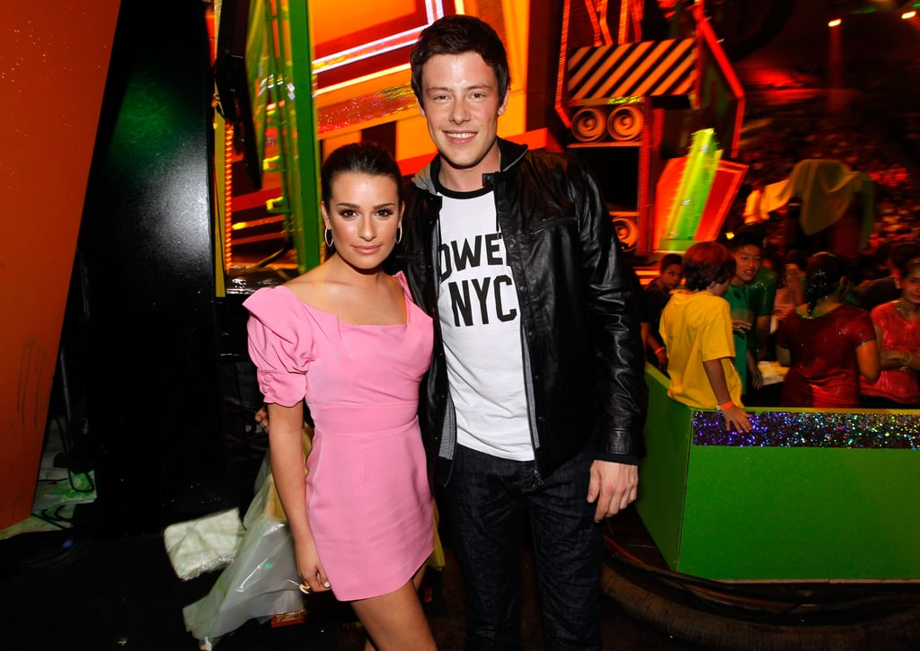 Cory Monteith and Lea Michele posed for pictures at the 2010 Kids' Choice Awards.