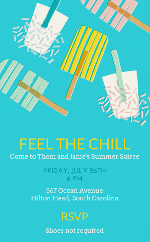 For a card that's way cooler than the heat of the grill, opt for this Popsicle print invite (price upon request) that your guests will adore.