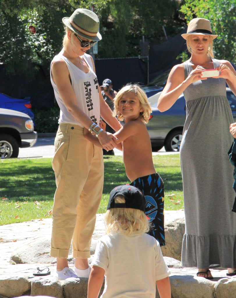 Gwen Stefani played with Kingston in an LA park.