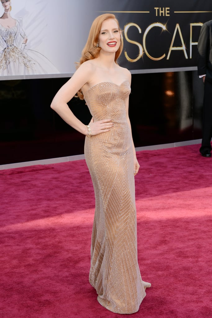 Jessica Chastain on the red carpet at the Oscars 2013.