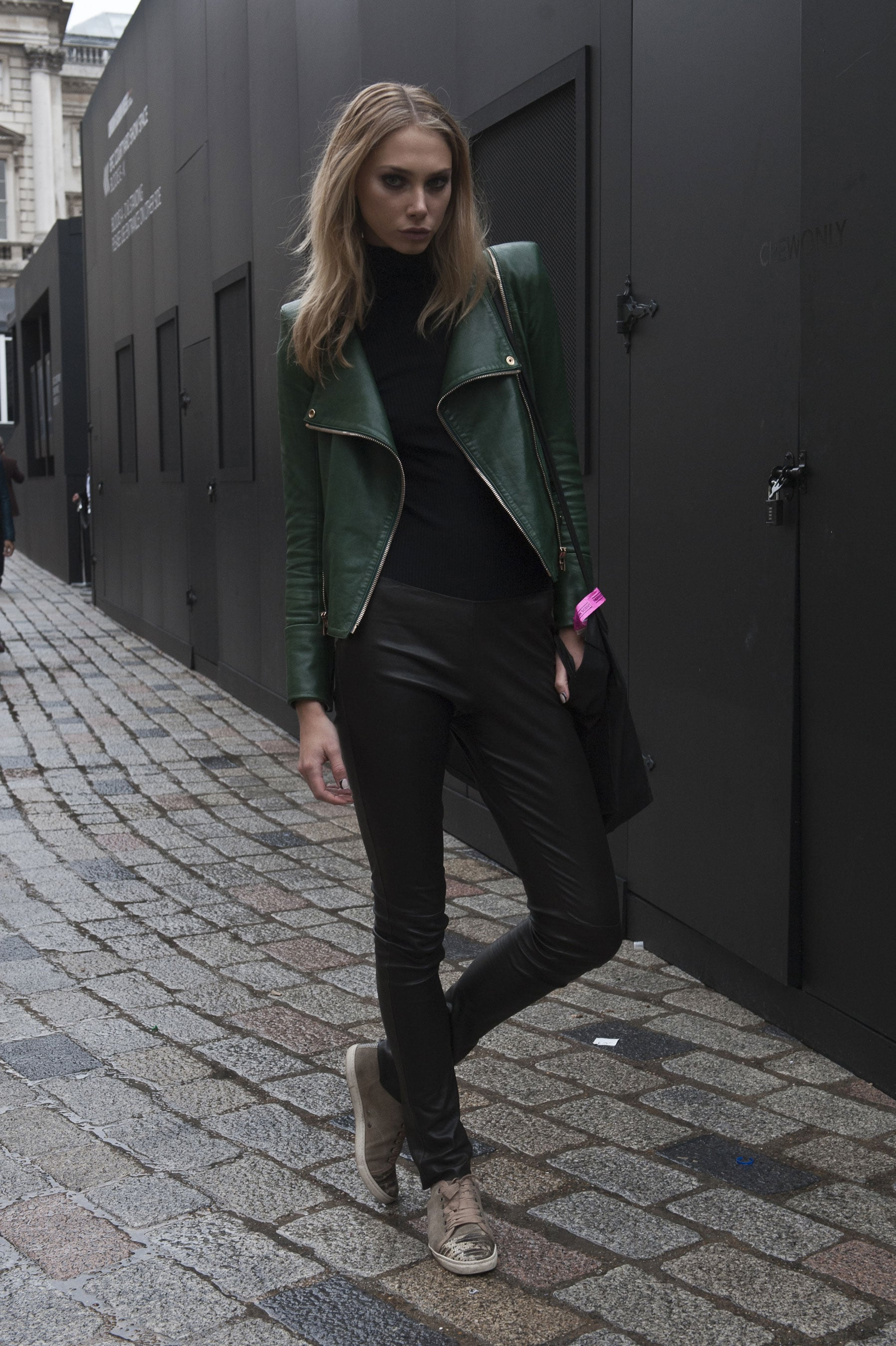 We've developed quite a crush on that hunter green leather jacket.