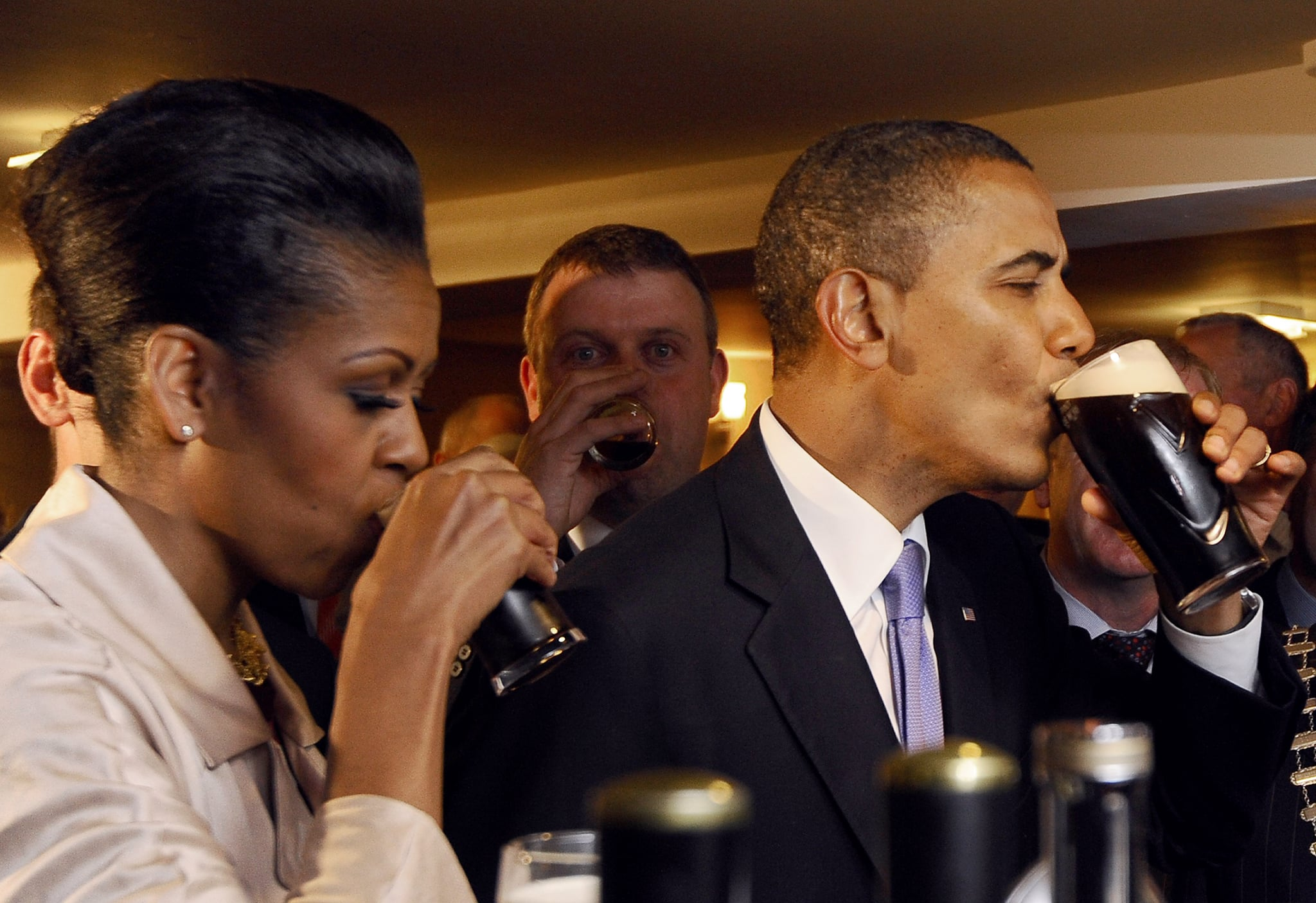 During a 2013 visit to Moneygall, the village in rural County Offaly, Ireland, where Barack's great-great-great grandfather Falmouth Kearney came from, the Obamas drank Guinness.