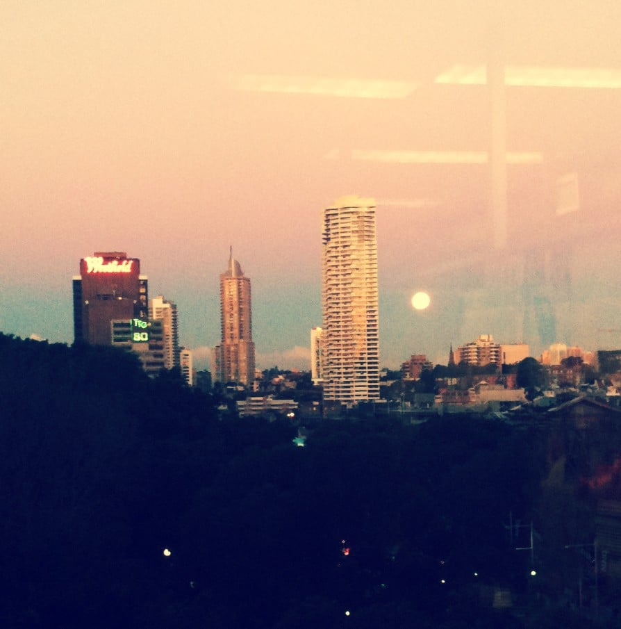 That moon! Visiting my friend in her Sydney CBD office, I couldn't resist capturing the magnificent view.