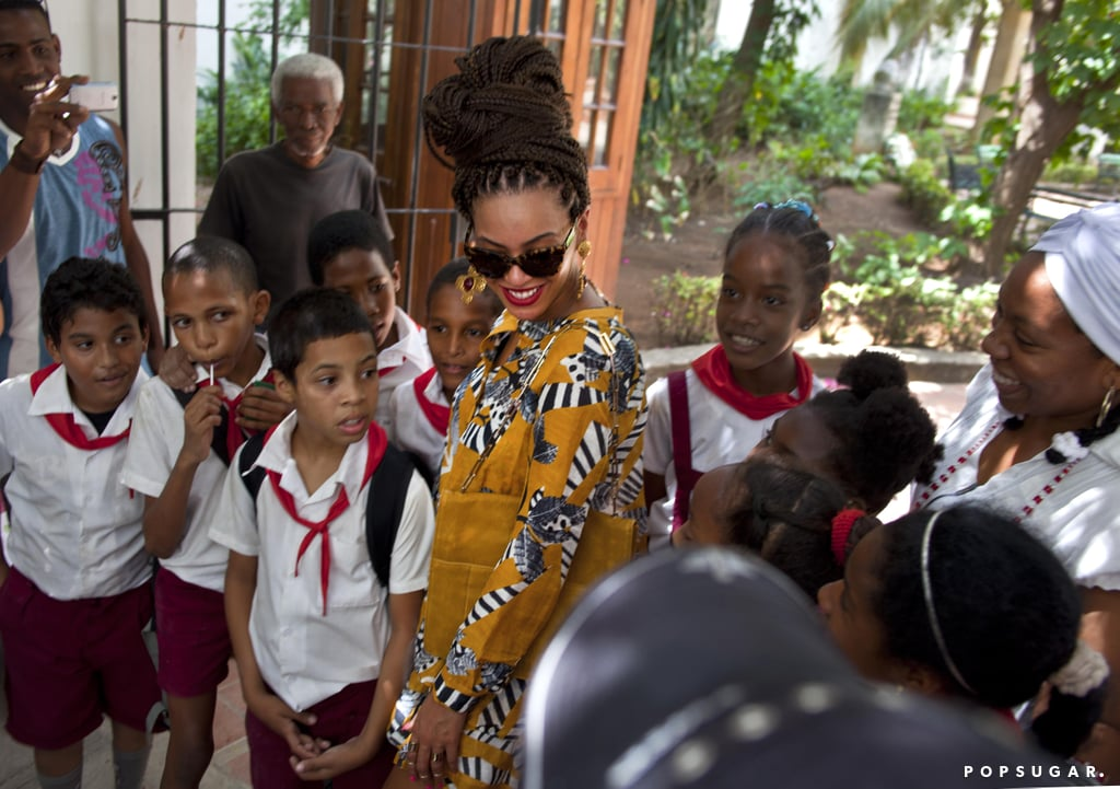 Beyoncé Knowles met with locals during her tour through Old Havana.