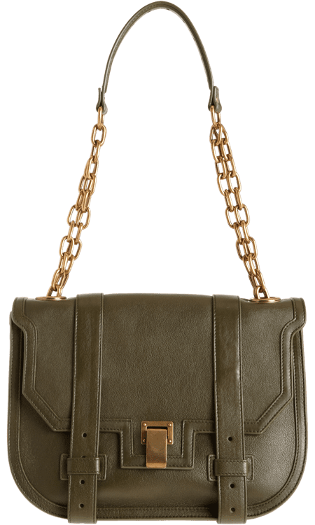 The bag: Proenza Schouler PS1 Mini Messenger ($1,945) Why we love it: We're suckers for the cool-girl PS1, but we're even more excited (if that's possible) for this army-green minimessenger. The gold chain strap lends a little more luxe and fresh update on the original. This will go with everything all season.