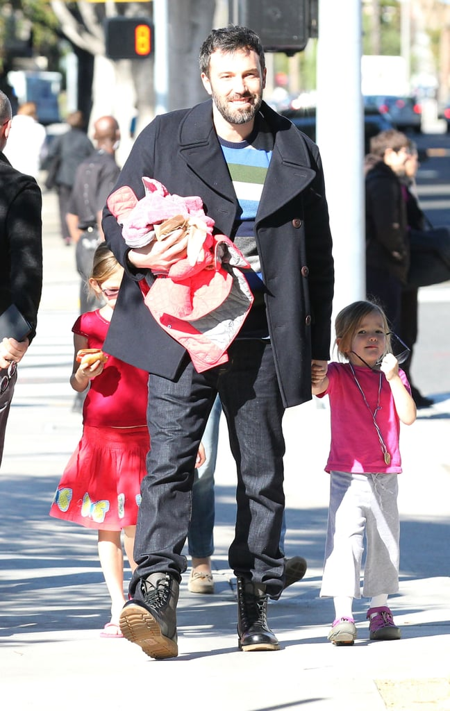 Ben Affleck walked with the girls.