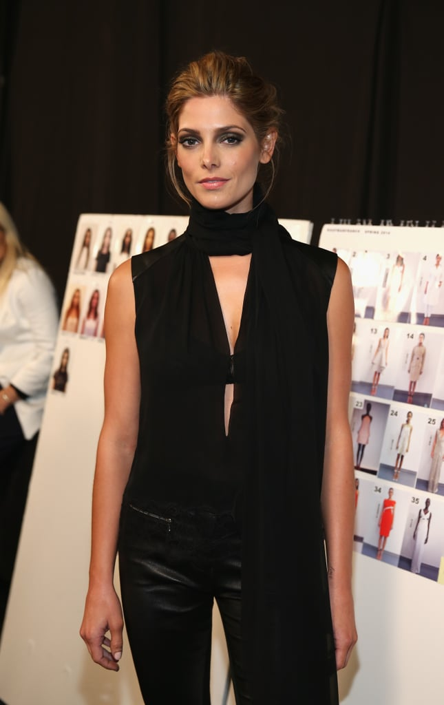 Ashley Greene looked stunning in all black as she posed backstage during Monday's Kaufmanfranco show.