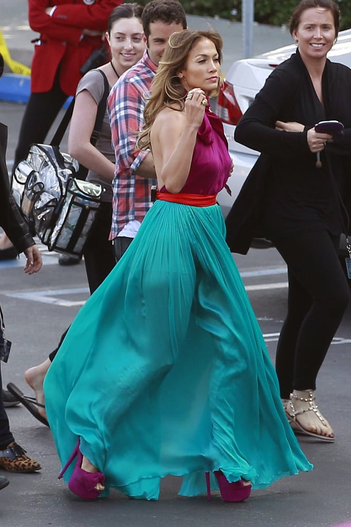 Jennifer Lopez sported high purple heels as she walked to the American Idol stage.