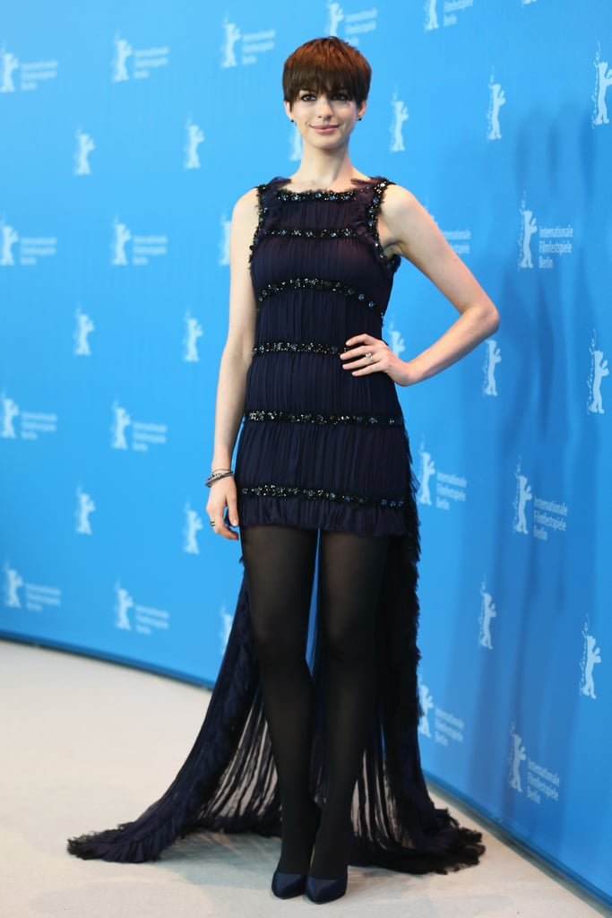 Anne Hathaway was a dark beauty in her Chanel Couture gown at the Les Misérables premiere in Berlin.