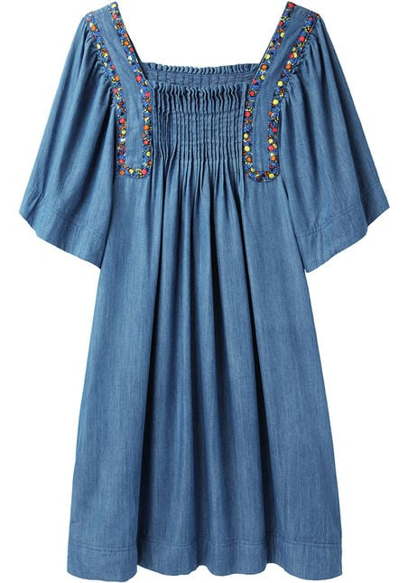 Tsumori Chisato's denim trapeze dress ($598) gives off a bohemian vibe. All you need is some strappy sandals and beaded bracelets to complete the look.