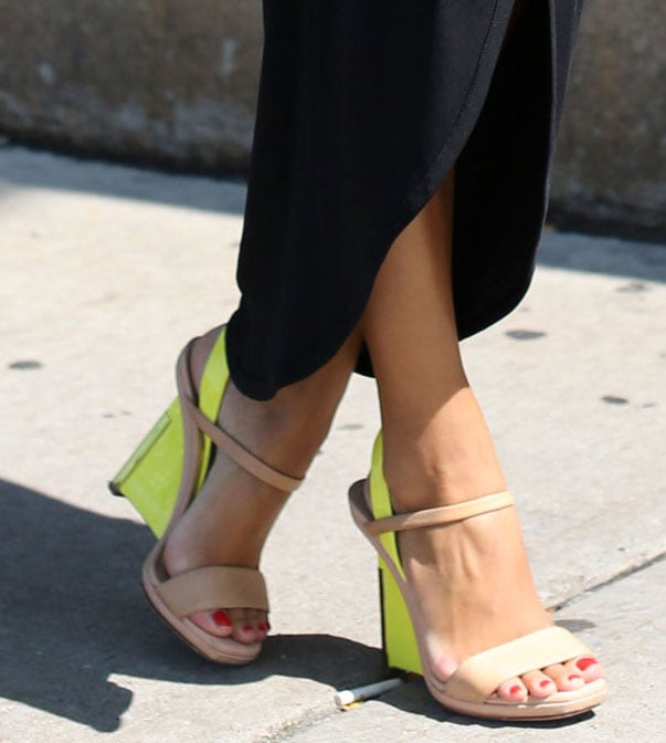 Neutrals and neon made the coolest color combo on these wedges. Source: Greg Kessler