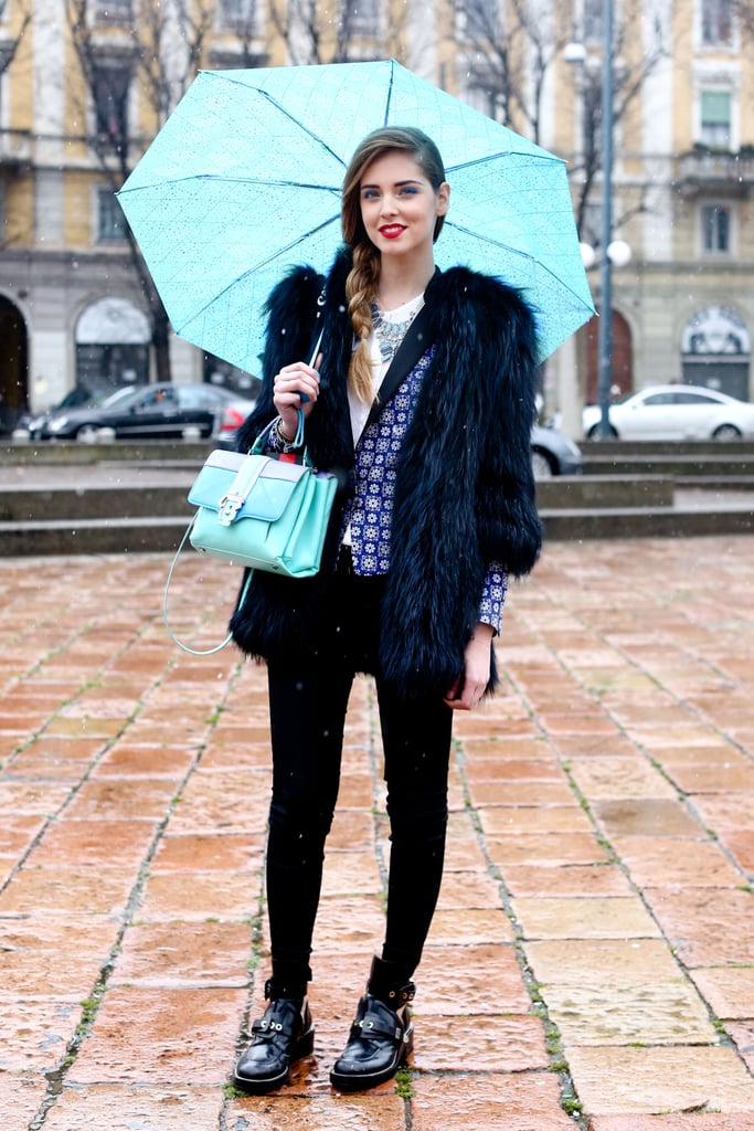 Pops of blue gave this furry jacket a little more Fashion Week whimsy.