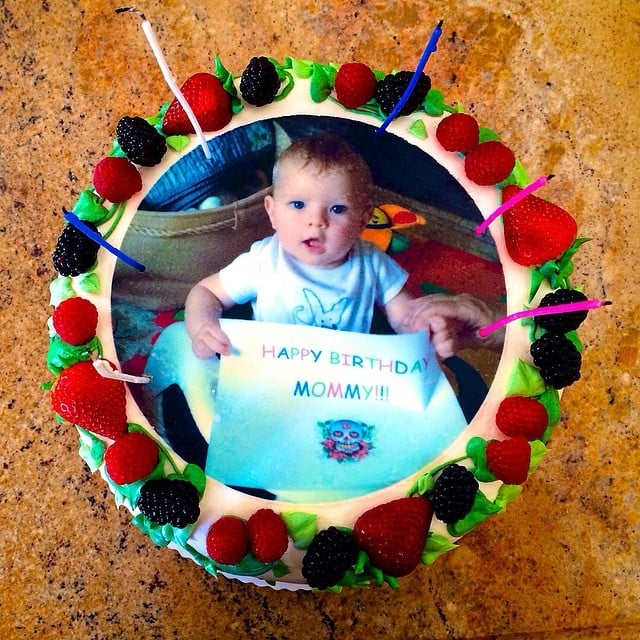 Axl Duhamel wished his mama, Fergie, a very happy birthday — right on her cake! Source: Instagram user fergie